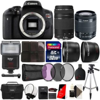 Canon EOS Rebel T6i 24.2MP Built-In WIFI Digital SLR Camera with 18-55mm Lens, 75-300mm Lens, Canon 100ES Camera Case and Ultimate Accessory Bundle