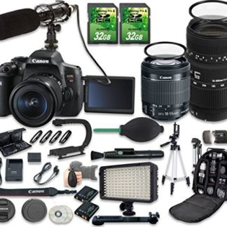 Canon EOS Rebel T6i DSLR Camera Bundle with Canon EF-S 18-55mm f/3.5-5.6 IS STM Lens + Sigma 70-300mm f/4-5.6 DG Macro Lens + 2pc 32 GB SD Cards + Microphone + LED Light