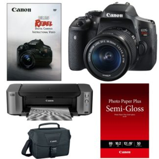 Canon EOS Rebel T6i DSLR Camera with 18-55mm Lens and Canon PIXMA PRO-10 Color Inkjet Printer Accessory Bundle