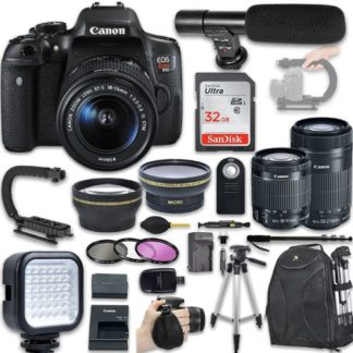 Canon EOS Rebel T6i DSLR Camera with Canon EF-S 18-55mm f/3.5-5.6 IS STM Lens + Canon EF-S 55-250mm f/4-5.6 IS STM Lens + Wide Angle Lens + 2x Telephoto Lens + New Video Bundle