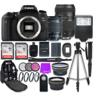 Canon EOS Rebel T6s 24.2MP Wi-Fi Enabled Digital SLR Camera with Canon EF-S 18-55mm IS STM Lens + Tamron Zoom 70-300mm f/4-5.6 Lens + Accessory Bundle