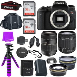 Canon EOS Rebel T6s Digital SLR - Wi-Fi Enabled + EF-S 18-55mm f/3.5-5.6 IS STM Lens + Tamron Auto Focus 70-300mm f/4.0-5.6 Di LD Macro Zoom + 58mm Wide Angle Lens
