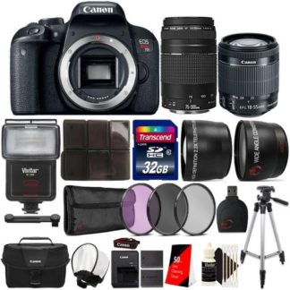 Canon EOS Rebel T7i 24.2MP Built-In WIFI DSLR Camera with 18-55mm Lens, 75-300mm Lens, Canon 100ES Case and Accessory Bundle