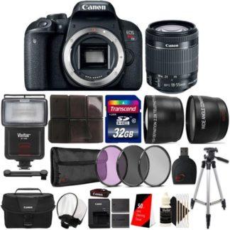 Canon EOS Rebel T7i 24.2MP DSLR Camera with 18-55mm Lens + Canon Camera Case and Accessories