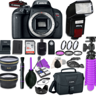 Canon EOS Rebel T7i Digital SLR Camera Body with Automatic Flash + LED Video Light, Close-Up Lens Set, 32GB Memory Card + Accessory Bundle