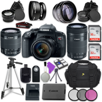 Canon EOS Rebel T7i Digital SLR Camera with Canon EF-S 18-55mm IS STM Lens + Canon EF-S 55-250mm f/4-5.6 IS STM Lens + Accessory Bundle