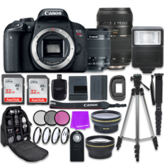 Canon EOS Rebel T7i Digital SLR Camera with Canon EF-S 18-55mm IS STM Lens + Tamron 70-300mm f/4-5.6 AF Lens + Accessory Bundle