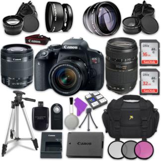 Canon EOS Rebel T7i Digital SLR Camera with Canon EF-S 18-55mm IS STM Lens + Tamron Zoom Telephoto AF 70-300mm f/4-5.6 Autofocus Lens + Accessory Bundle