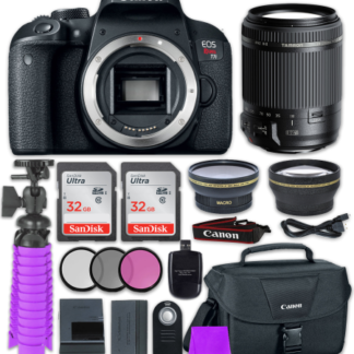 Canon EOS Rebel T7i Digital SLR Camera with Tamron 18-200mm f/3.5-6.3 Vibration Reduction Lens + 2x 32GB Class 10 SD Memory Card + Accessory Bundle