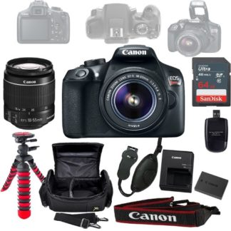 Canon Eos Rebel T6 DSLR Camera Bundle w/ Canon 18-55mm f/3.5-5.6 IS II Lens, Sandisk 64GB SD Card, Case, Tripod, Grip, and More