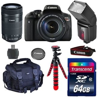 Canon Eos Rebel T6i Digital SLR with EF-S 18-55 IS STM + 55-250 IS STM + 64GB Class 10 Memory Card + Camera Case + Adjustable Tripod + Pro Series Digital DSLR Dedicated Flash + Wi Fi Enabled