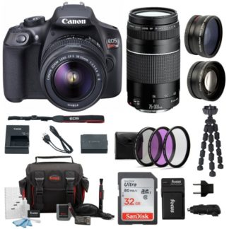 Canon EOS Rebel T6 DSLR Camera with 18-55mm and 75-300mm Lens Accessory Bundle