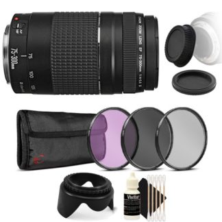 Canon EF 75-300mm f/4-5.6 III USM Telephoto Zoom Lens for Canon EOS Rebel T7 T7i T6i T6 T6s with Accessories