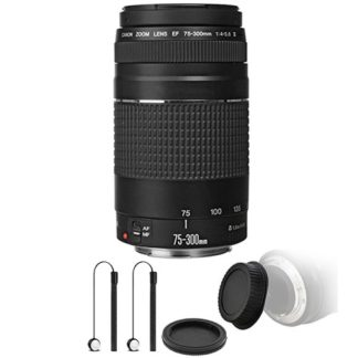 Canon EF 75-300mm f/4-5.6 III USM Telephoto Zoom Lens with Accessory Bundle for Canon EOS Rebel T7 T7i T6i T6 T6s