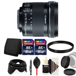 Canon EF-S 10-18mm f/4.5-5.6 IS STM Lens for Canon EOS Rebel T7 T7i T6i T6 T6s with Ultimate Accessory Bundle
