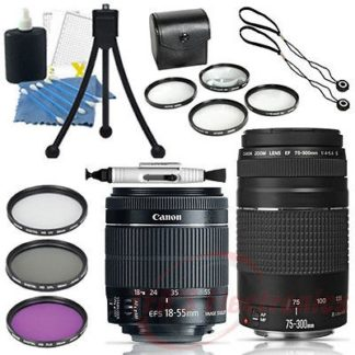 Canon EF-S 18-55mm f/3.5-5.6 STM with Canon EF 75-300mm Lens III Bundle for Canon EOS Rebel T5 T6 T5i T6i T6s 70D 80D