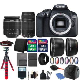 Canon EOS Rebel 1300D DSLR Camera + 18-55mm + 75-300mm Lens + Two Battery Bundle