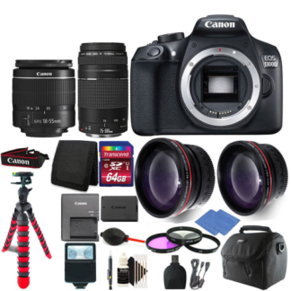 Canon EOS Rebel 1300D / T6 Digital SLR Camera with 4 Lens Complete Accessory Bundle