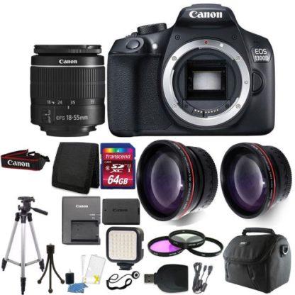 Canon EOS Rebel 1300D / T6 Digital SLR Camera with 64GB Deluxe Accessory Bundle