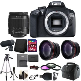 Canon EOS Rebel 1300D/T6 Digital SLR Camera with Microphone + Top Accesories