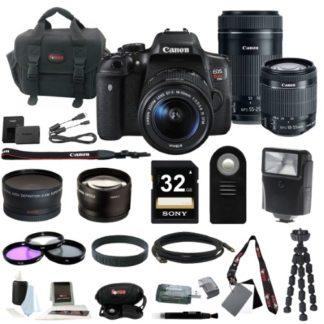 Canon EOS Rebel T6i DSLR w/ 18-55mm & 55-250mm Lenses w/ 32GB Memory Card Bundle