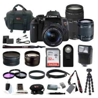 Canon EOS Rebel T6i DSLR w/ 18-55mm & 75-300mm Zoom Lens Bundle