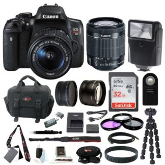 Canon EOS Rebel T6i DSLR with 18-55mm f/3.5-5.6 Lens & 32GB SDHC Accessory Bundle