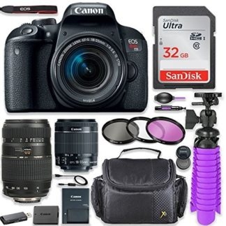 Canon EOS Rebel T7i 24.2MP DSLR Camera with Canon 18-55mm STM Lens & Tamron 70-300mm f/4-5.6 Di LD Lens Bundle + 32GB SD Memory + High Definition Coated Filters + Spider Tripod + Professional Bundle