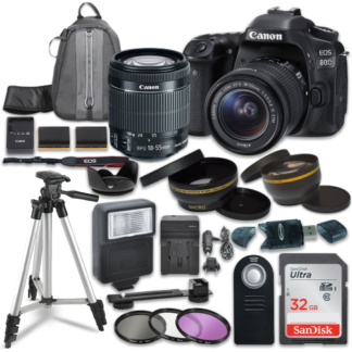 Canon EOS 80D Digital SLR Camera with Canon EF-S 18-55mm IS STM Lens + Sandisk 32GB SDHC Memory Cards + Accessory Bundle