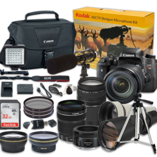 Canon EOS Rebel T6s 24.2MP DSLR Camera w/ EF-S 18-135mm f/3.5-5.6 IS STM Lens & EF 75-300mm f/4-5.6 III Telephoto Zoom + 650-1300mm Wildlife + EF 50mm f/1.8 STM + Kodak MIC-711 Shotgun Microphone