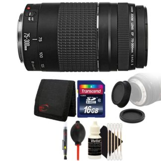 Canon EF 75-300mm f/4-5.6 III USM Telephoto Zoom Lens with Accessory Bundle for Canon EOS Rebel T4i T3 T3i T2i