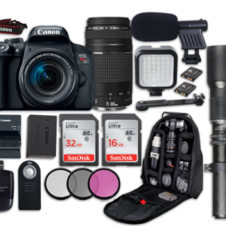 Canon EOS Rebel T7i DSLR Camera with Canon EF-S 18-55mm f/4-5.6 IS STM Lens + Canon EF 75-300mm f/4-5.6 III Lens + 500mm f/8 Preset Lens + LED Light + Microphone + Video Accessory Bundle
