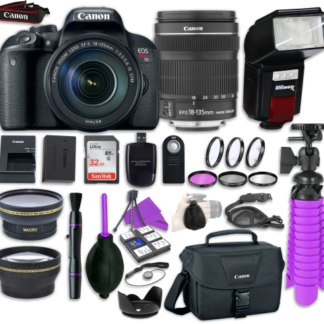 Canon EOS Rebel T7i Digital SLR Camera with Canon EF-S 18-135mm IS STM Lens + Automatic Flash + LED Video Light, Close-Up Lens Set, 32GB Memory Card + Accessory Bundle
