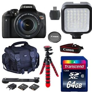 Canon Eos Rebel T6i Digital SLR with EF-S 18-135 IS STM Lens + EF-S 55-250 IS STM Lens + 64GB Class 10 Memory Card + Camera Case + LED Light + Card Reader + Flexible Tripod + Wi Fi Enabled