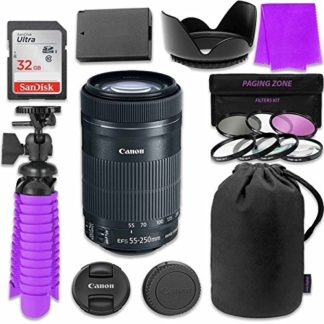 Canon EF-S 55-250mm f/4-5.6 IS STM Lens Bundle with SanDisk 32GB Memory Card, LP-E8 Replacement Battery, Flexible Gorillapod & 3 Piece Filter Kit for Canon EOS Rebel T4i, T5i Digital SLR Cameras