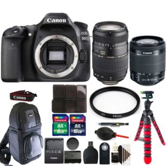 Canon EOS 80D 24.2MP Digital SLR Camera with 18-55mm & 70-300mm Lens + Top Accessory Bundle