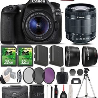 Canon EOS 80D Digital SLR Camera with EF-S 18-55mm IS STM Lens and 64GB in Memory + Accessory Bundle (15 Items)