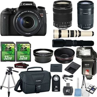 "Canon EOS Digital Rebel T6s 24.2MP DSLR Camera with Canon 18-135mm STM Lens + Canon 55-250mm STM Lens + 500mm Present Lens + 2pc 32GB Memory Cards + Slave Flash + Card Reader Canon Case + 50"" Tripod"