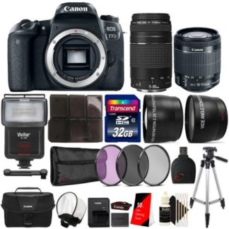 Canon EOS Rebel 77D 24.2MP DSLR Camera with 18-55mm Lens, 75-300mm Lens, Canon 100ES Case and Ultimate Accessory Bundle