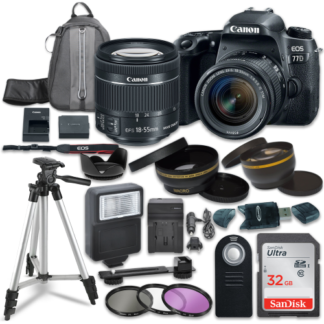 Canon EOS Rebel 77D Digital SLR Camera with Canon EF-S 18-55mm IS STM Lens + Sandisk 32GB SDHC Memory Cards + Accessory Bundle