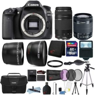 Canon EOS Rebel 80D 24.2MP DSLR Camera with 18-55mm Lens, 75-300mm Lens, Canon Camera Case and 16GB Accessory Bundle