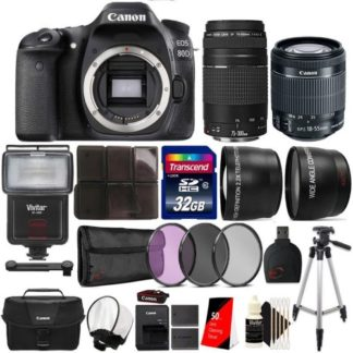 Canon EOS Rebel 80D 24.2MP Digital SLR Camera with 18-55mm Lens, 75-300mm Lens, Canon 100ES Case and Accessories