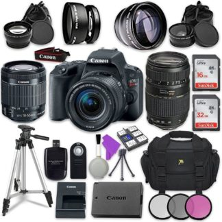Canon EOS Rebel SL2 Digital SLR Camera with Canon EF-S 18-55mm IS STM Lens + Tamron Zoom Telephoto AF 70-300mm f/4-5.6 Autofocus Lens + Accessory Bundle