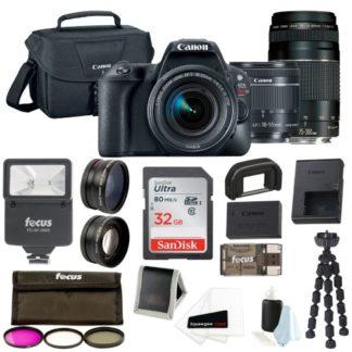 Canon EOS Rebel SL2 SLR Camera w/ 18-55mm & 75-300mm Lenses + 32GB Supreme Bundle