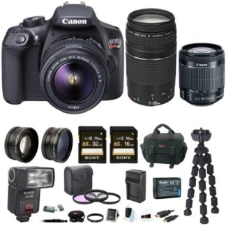 Canon EOS Rebel T6 DSLR Camera with 18-55mm and 75-300mm Lens Bundle