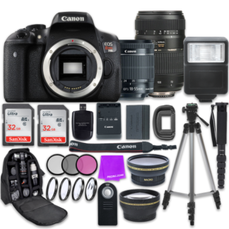 Canon EOS Rebel T6i 24.2MP WiFi Enabled Digital SLR Camera with Canon EF-S 18-55mm IS STM Lens + Tamron Zoom 70-300mm f/4-5.6 Lens + Accessory Bundle