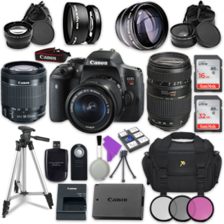 Canon EOS Rebel T6i 24.2MP WiFi Enabled Digital SLR Camera with Canon EF-S 18-55mm IS STM Lens + Tamron Zoom Telephoto AF 70-300mm f/4-5.6 Autofocus Lens + Accessory Bundle