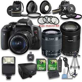 Canon EOS Rebel T6i DSLR Camera +18-55mm IS STM Lens + 55-250mm f/4-5.6 IS STM Lens + Wideangle Lens + Telephoto Lens + 2 PC 32GB Memory Card + 4 PC Macro Bundle + Flash Light