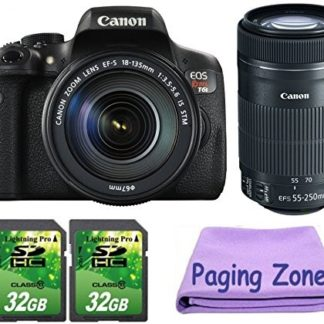 Canon EOS Rebel T6i DSLR Camera with 18-135mm IS STM and 55-250mm IS STM Lenses