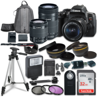 Canon EOS Rebel T6i Digital SLR Camera with Canon EF-S 18-55mm IS STM Lens + Canon EF-S 55-250mm f/4-5.6 IS STM Lens + Sandisk 32GB SDHC Memory Cards + Accessory Bundle